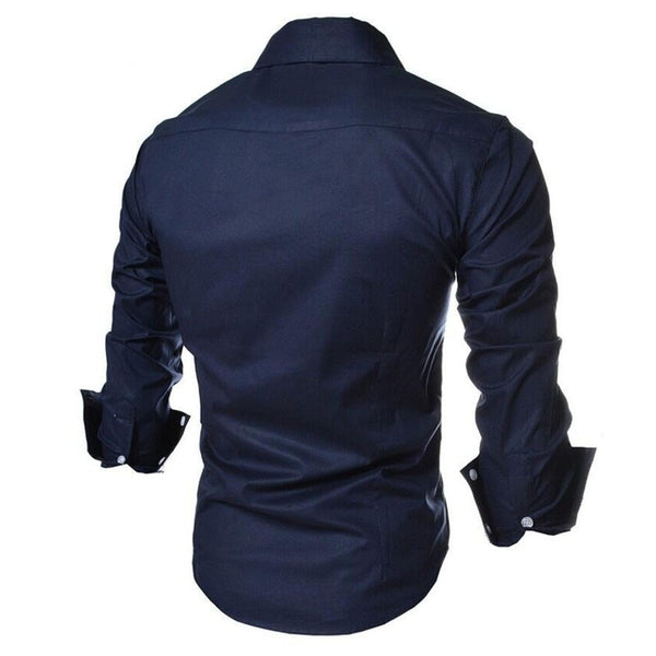 Men's Long Sleeve Two Tone Slim Fit Shirt