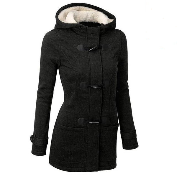Women's Hooded Overcoat with Horn Buttons