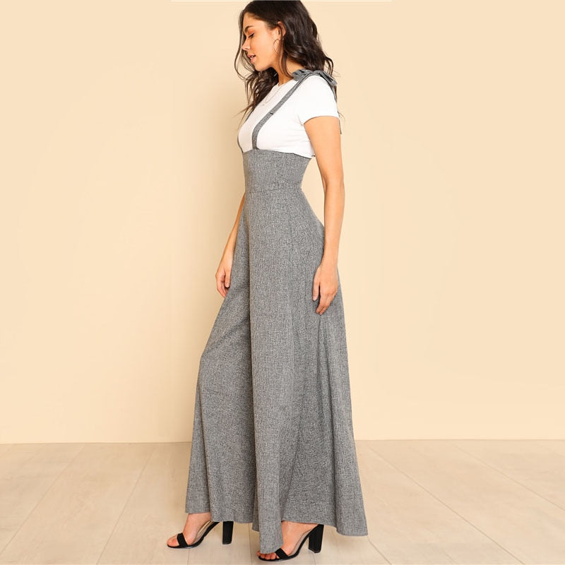 Women's Self Tie Wide Leg Jumpsuit