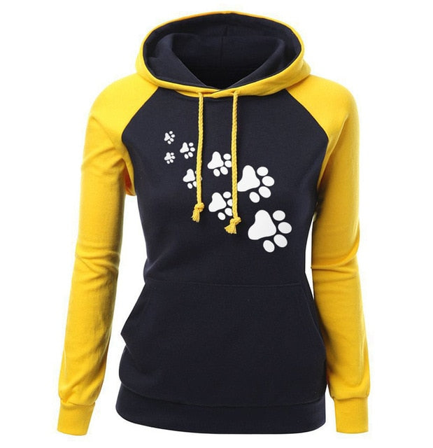 Women's Fleece PAW Print Hoodie Sweatshirt