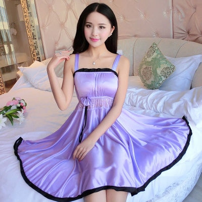Women's Sexy Silk Satin V Neck Nightie