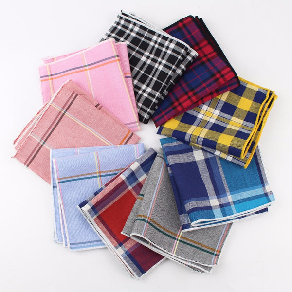 Men's 100% Cotton Handkerchief Scarves Vintage Plaid
