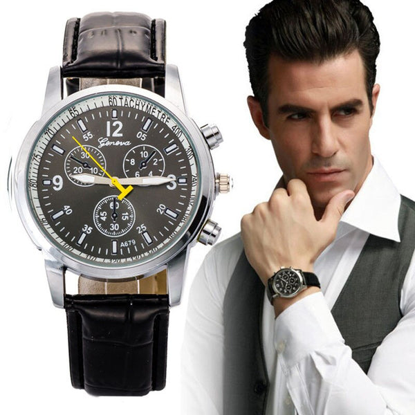 Men's Crocodile Faux Leather Band Watch