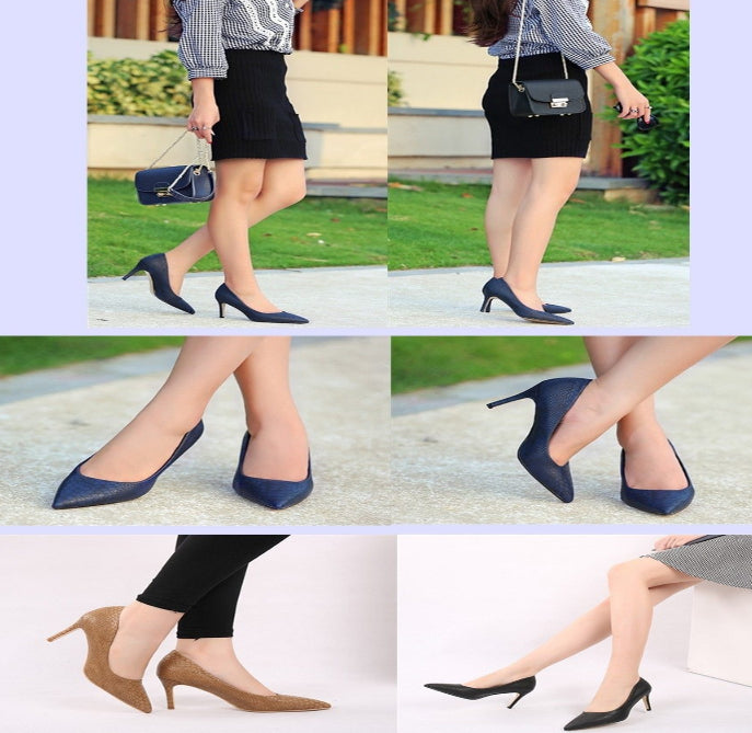 Women's Leather High Heel Shoes