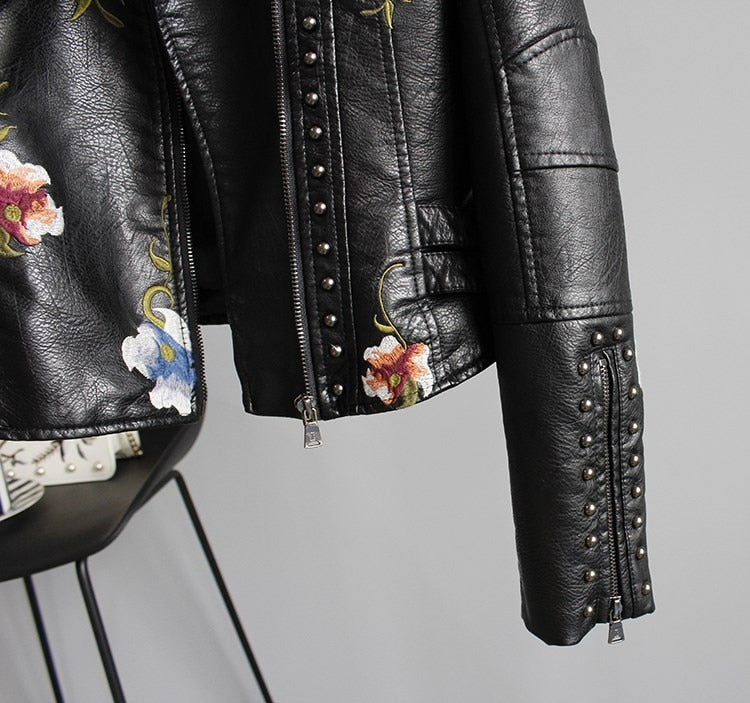 Women's Floral Print Embroidery Faux Soft Leather Jacket