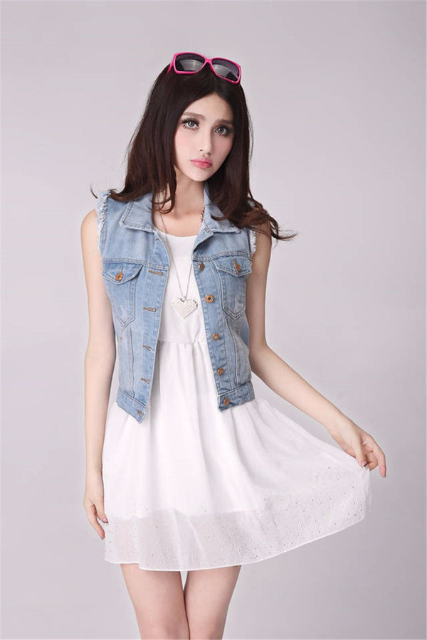 Women's Denim Sleeveless Vest