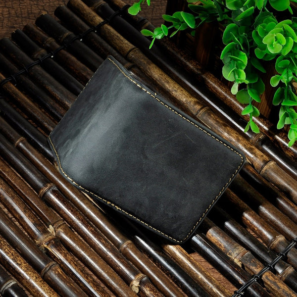 Men's Genuine Leather Slim Money Clip Wallet