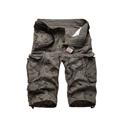 Men's Fashion Print Multi-Pocket Outdoor Cargo Shorts