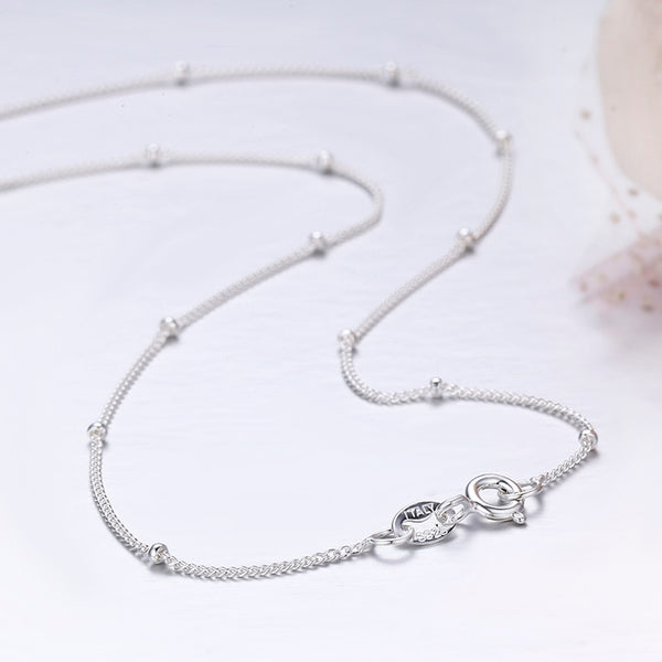 Women's Slim Pure 925 Sterling Silver Beaded Choker Necklace