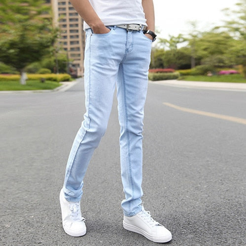 Men's Stretch Skinny Jeans Super Elastic Straight Trousers