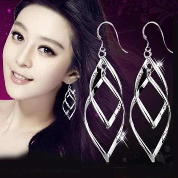 Women's 925 Sterling Silver Bohemia Tassel Double Twist Earrings