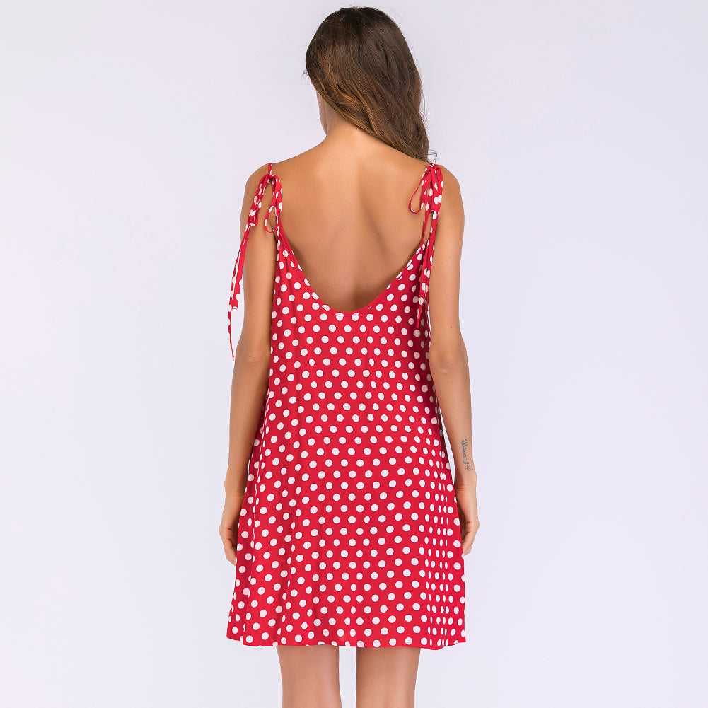 Women's Polka Dot Print V Neck Sleeveless Spaghetti Strap Dress