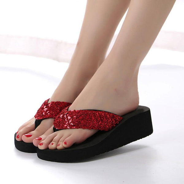 Women's Anti-Slip Sequin Wedge Sandals