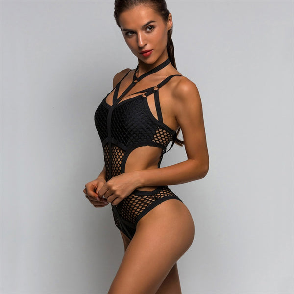 Women's Sheer Knit Net Mesh One Piece Swimsuit