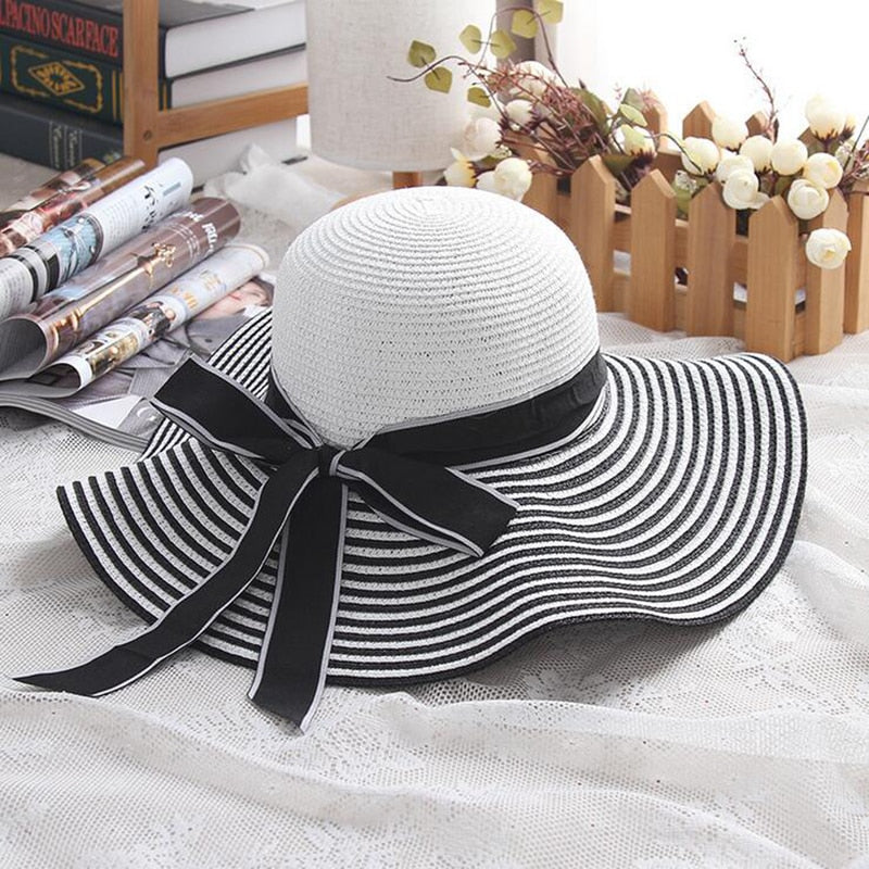 Women's Striped Bowknot Summer Sun Hat