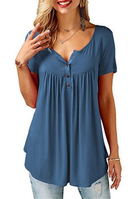 Women's V Neck Short Sleeve Tunic