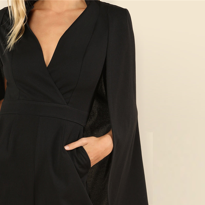 Women's Elegant Wrap Plunging V Neck Cloak Long Sleeve Jumpsuit