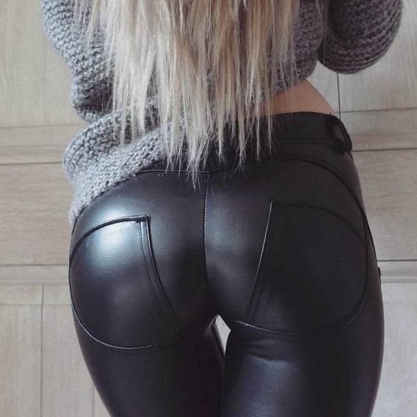 Women's Faux Leather Elastic Waist Pants