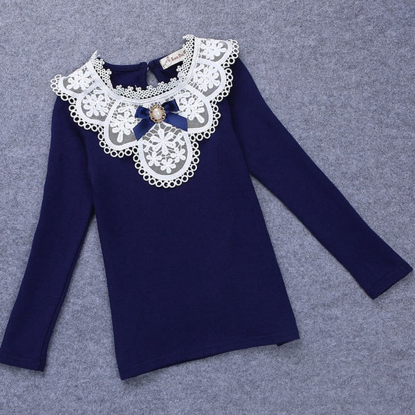 Kid's Girls Warm Solid Long Sleeve Lace Flower Top