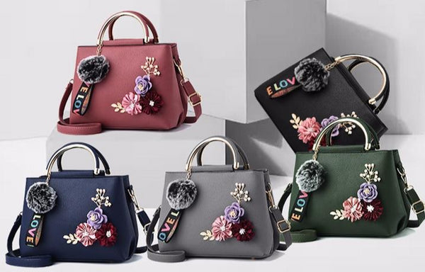Women's Leather Flowered Tote Handbag