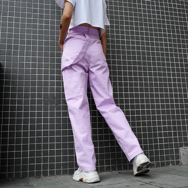 Women's Loose High Waist Cotton Cargo Pants
