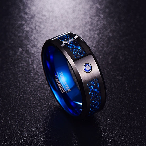 Carbon Fiber Blue Zircon Tungsten Carbide Ring