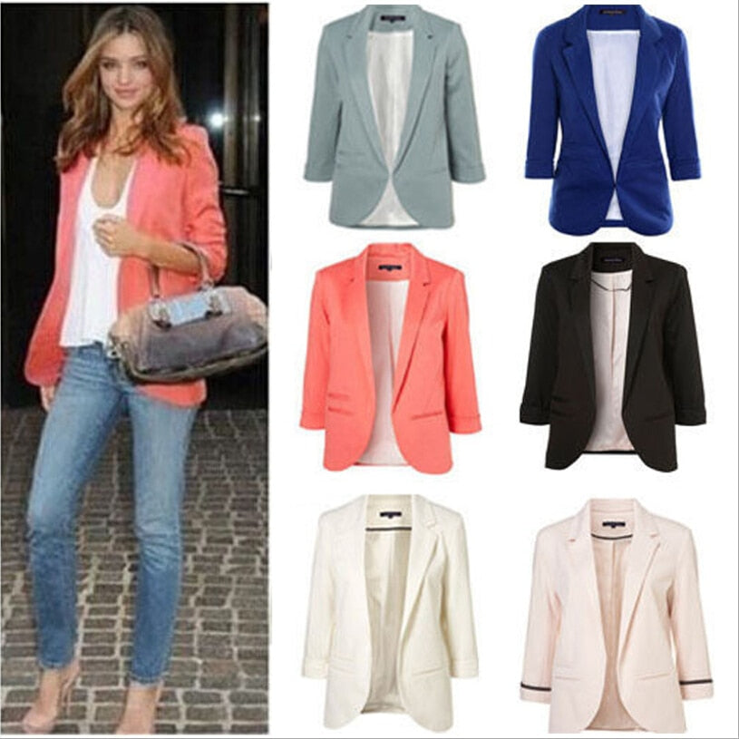 Women's Open Front Notched Slim Fit Blazer