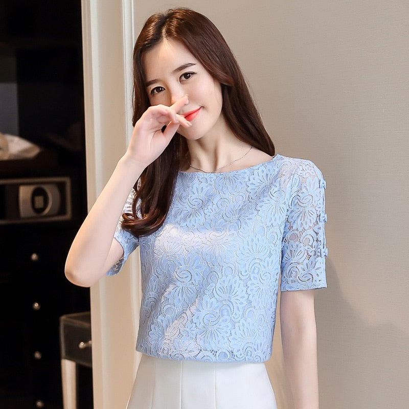 Women's Lace Short Sleeve  Blouse