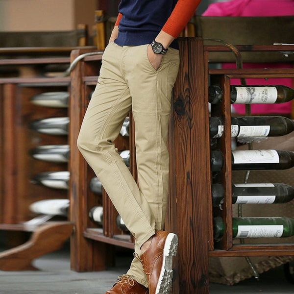 Men's Casual Cotton Slim Fit Trousers