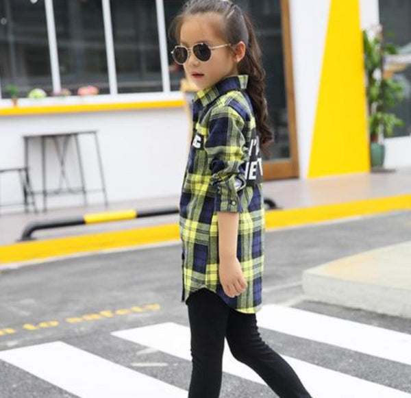 Kid's Girls Plaid Cotton Button Down Shirt