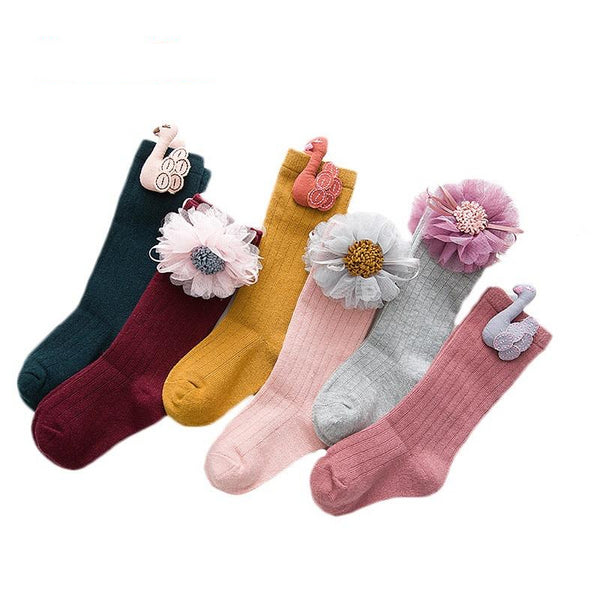 Kid's Girls Cotton Socks with Embellishments
