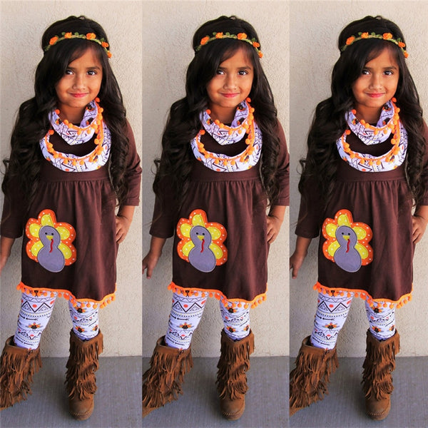 Kids Thanksgiving Turkey Ruffle Outfit