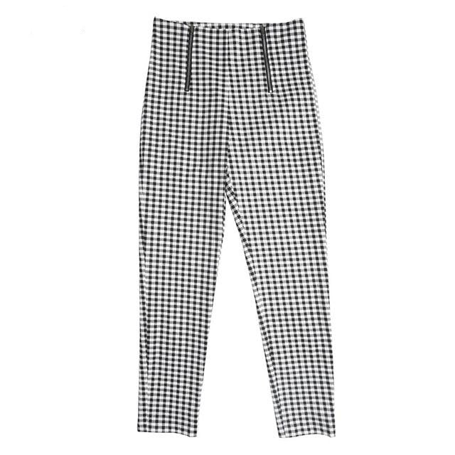 Women's Plaid Side Stripe Cotton Pants