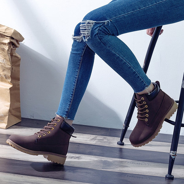 Women's Autumn Flat Heel Boots