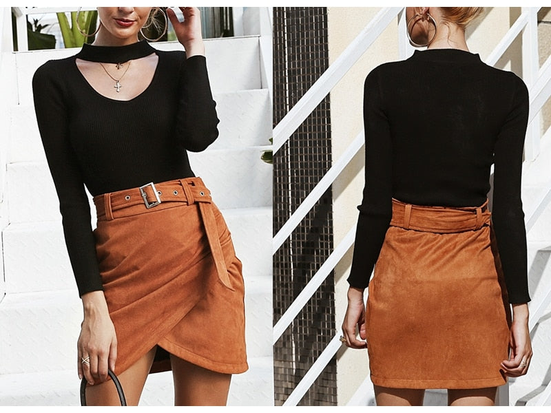 Women's High Waist Belted Suede Leather Skirt