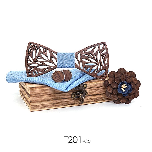 Men's Paisley Wooden Bow Tie, Handkerchief and Cufflinks Set
