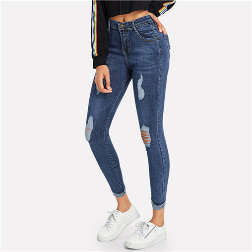Women's Ripped Skinny Denim Jeans