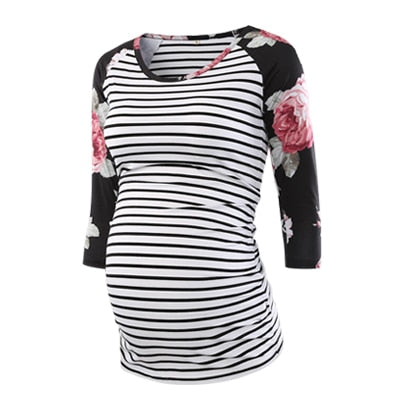 Women's 3/4 Sleeve Side Ruched Floral Striped Maternity Top