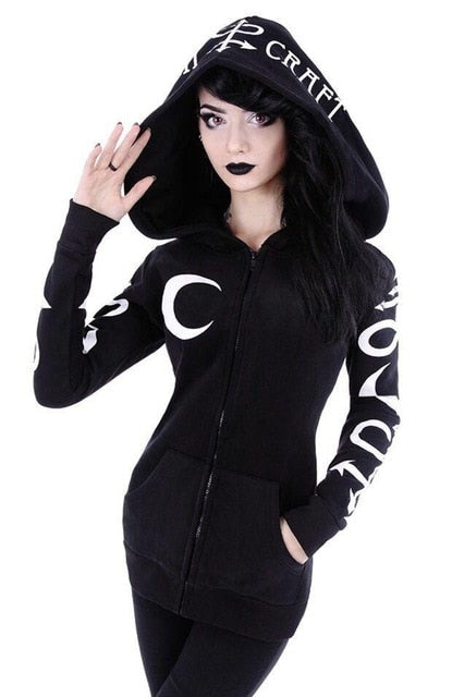 Women's Gothic Punk Moon Zipper Hooded Sweatshirts