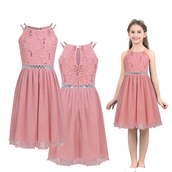 Kid's Girls Sleeveless Sequined Floral Lace Shiny Party Dress