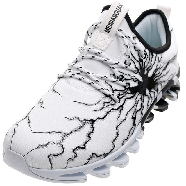 Men's Lightning Casual Elasticity Control Non-Slip Sneakers - White
