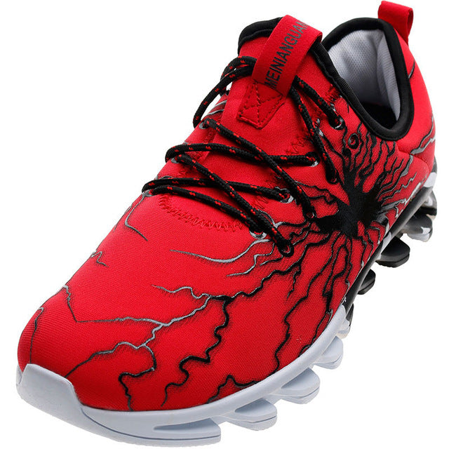 Men's Lightning Casual Elasticity Control Non-Slip Sneakers - Red