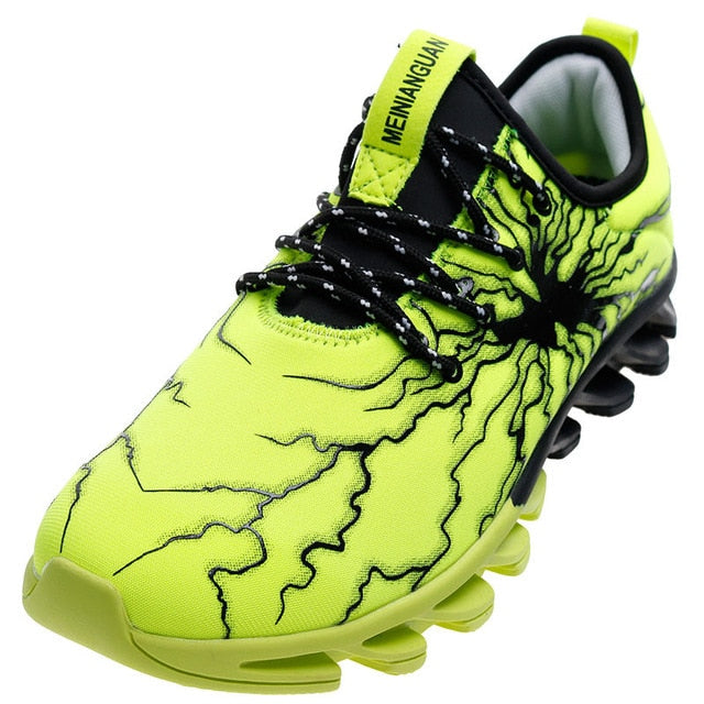 Men's Lightning Casual Elasticity Control Non-Slip Sneakers - Green