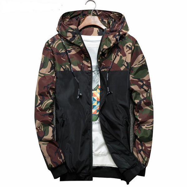Men's Camouflage Windbreaker Jacket w/ Hood
