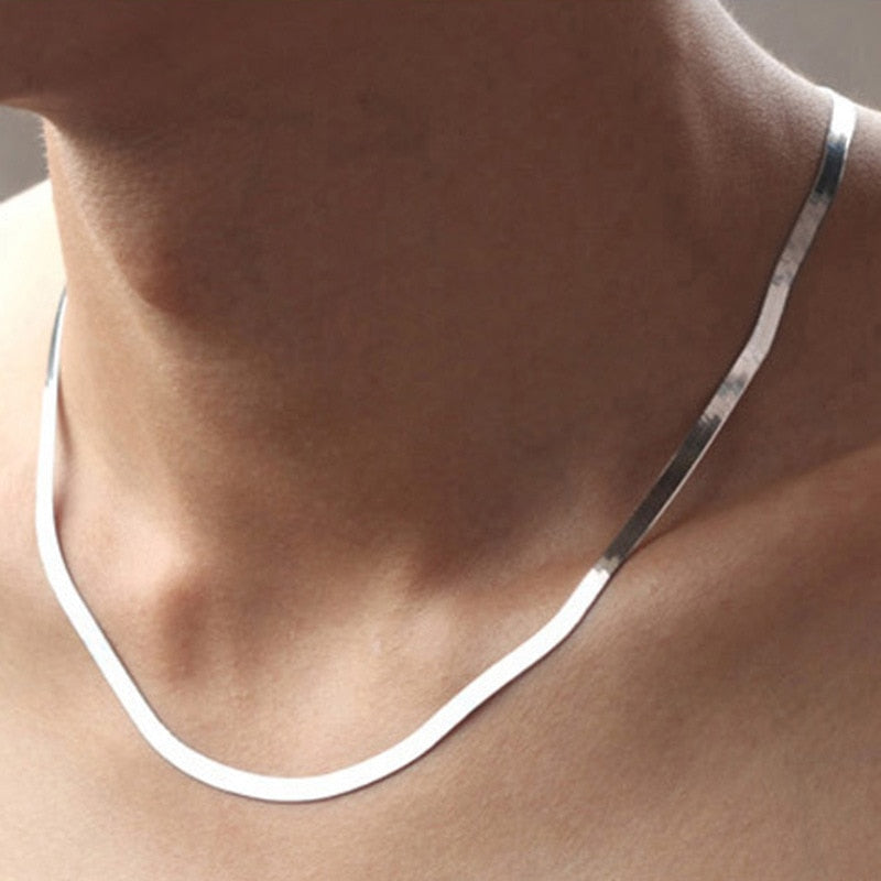 Men's 925 Sterling Silver Snake Chain Necklace