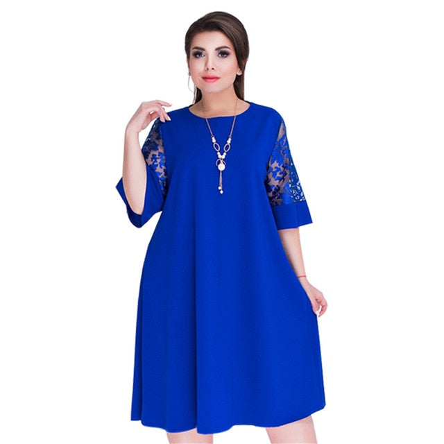 Women's Summer Loose Midi Lace Sleeve Party Dress