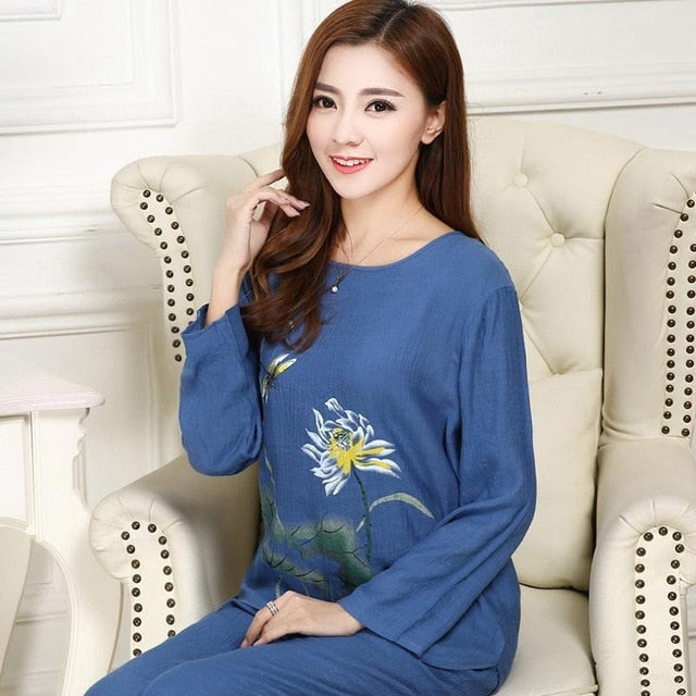 Women's Cotton Pajamas Two Piece Set