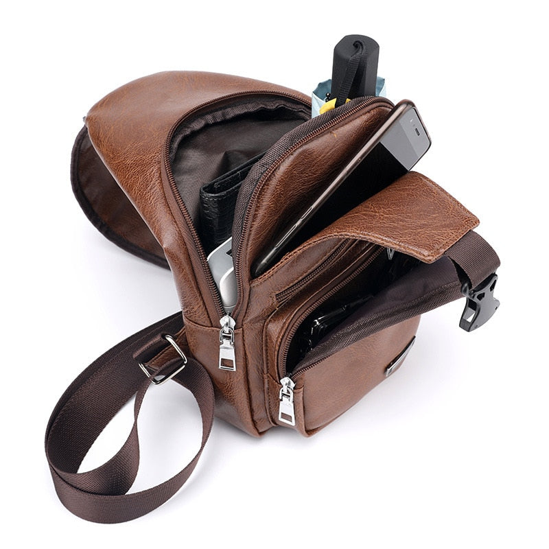 Men's Crossbody USB Chest Leather Travel Bag