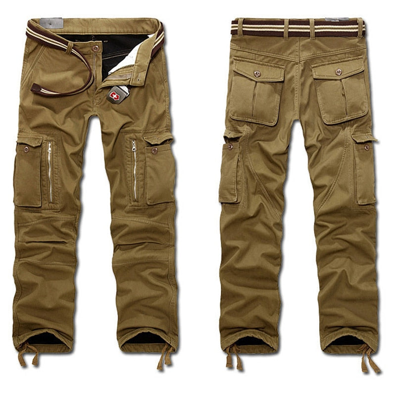 Men's Baggy Tactical Cargo Pants with Zipper Pockets