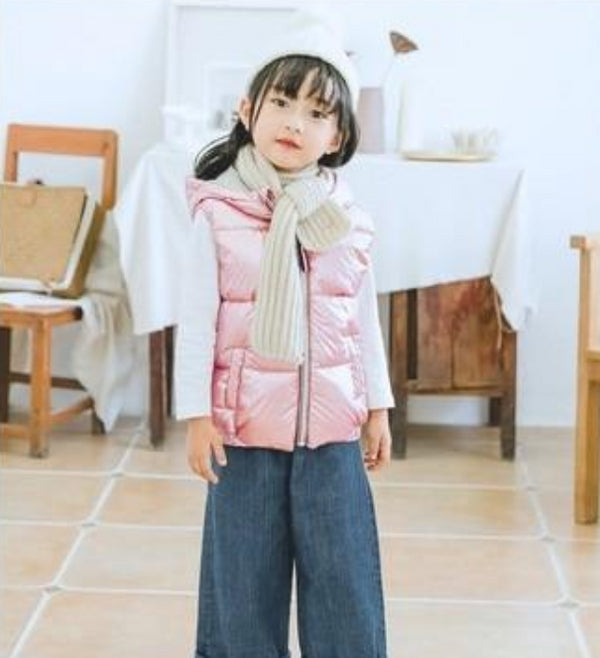 Kid's Girls Outerwear Winter Vest with Hood